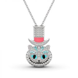 "Jeulia ""Appear and Disappear at Will"" Cheshire Cat Sterling Silver Necklace"