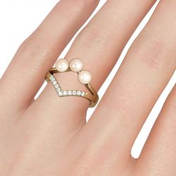Jeulia Split Shank Cultured Pearl Sterling Silver Ring