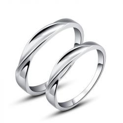Jeulia Twist Couple Rings Stainless Steel