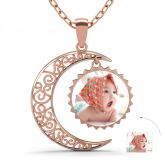 Jeulia  Rose Gold Tone Crescent Moon Personalized Photo Necklace Sterling Silver