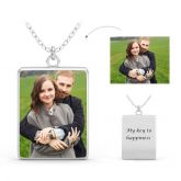 Jeulia  Engraved Personalized Photo Necklace Sterling Silver