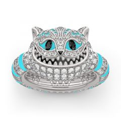 "Jeulia ""Appear and Disappear at Will"" Cheshire Cat Sterling Silver Enamel Ring"