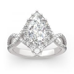 Jeulia Halo Split Shank Marquise Cut Sterling Silver Ring